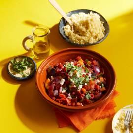 Groente-tajine met paprika, courgette en aubergine