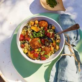 Auberginesalade met quinoa en falafel