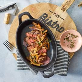 Gegrilde biefstuk met oesterzwammen en balsamico-wijnsaus