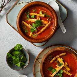 Chinese tomatensoep met tofu