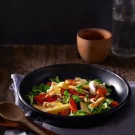 Salade van geroosterde pompoen met camembert