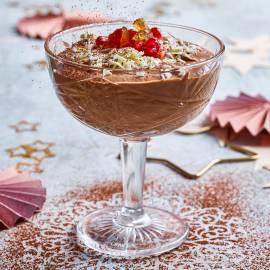 Chocolademousse met gember en granaatappel