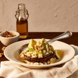 Geroosterde portobello met knolselderijrisotto en walnoten