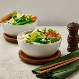 Zilvervliesrijst-bowl met tonijn en sugarsnaps