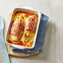 Witlof uit de oven met rauwe ham en parmezaan
