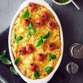 Frittata met pasta en tomaatjes