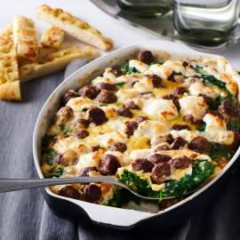 Frittata met spinazie en gehaktballetjes