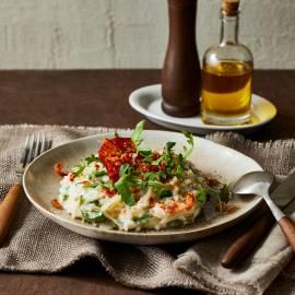 Risotto met pancetta, radicchio, rucola en gorgonzola