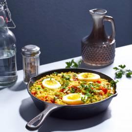 Kedgeree met spek en zachtgekookt ei