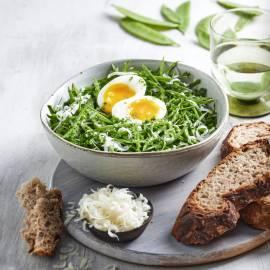 Peultjes met zachtgekookt ei
