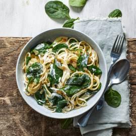 Spaghetti à la crème met spinazie