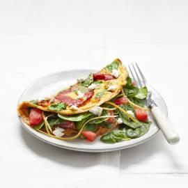 Spinazie-omelet met chorizo en grapefruit