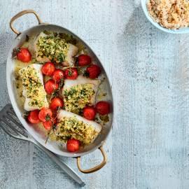Kabeljauw met kruidenkorst en gegrilde tomaatjes