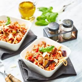 Spaghetti met balletjes en aubergine
