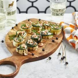 Courgetterolletjes met mascarpone en garnalen