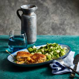 Cordon bleu met gerookte ham, cheddar en groenten-tabouleh