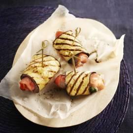 Auberginerolletjes met ham en mozzarella