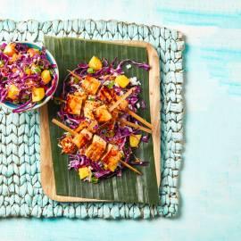 Tofuspiesjes met ananasmarinade en koolsla