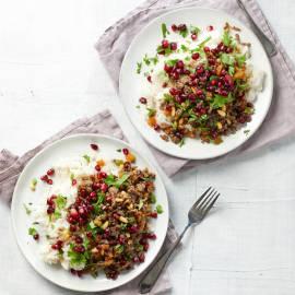 Libanese rijstschotel met granaatappel