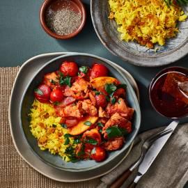 Rooibos-kip met gele rijst