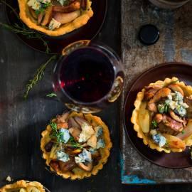 Tartelette met paddenstoelen en gorgonzola
