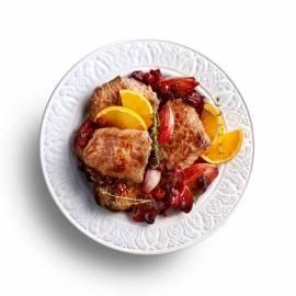 Biefstuk met gekonfijte sjalotjes en cranberry's
