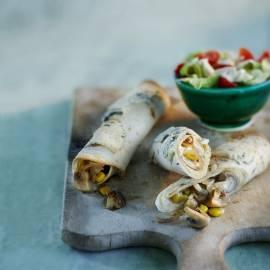 Champignonburrito's met mais en blauwe kaas