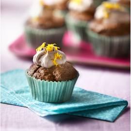 Chocolade cupcakes met sinaasappeltopping