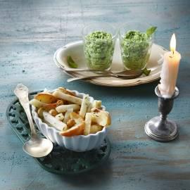 Frisgroene puree van erwtjes, broccoli en basilicum