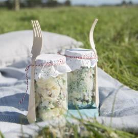 Frisse aardappelsalade met yoghurt en spekjes
