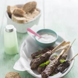 Kebab met muntyoghurt